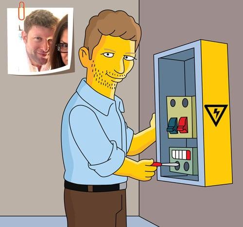 Electrician Gift - Custom Portrait as Yellow Cartoon Character