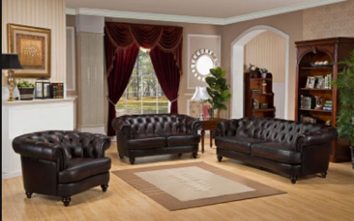 Irina 3 Piece Leather Living Room Set