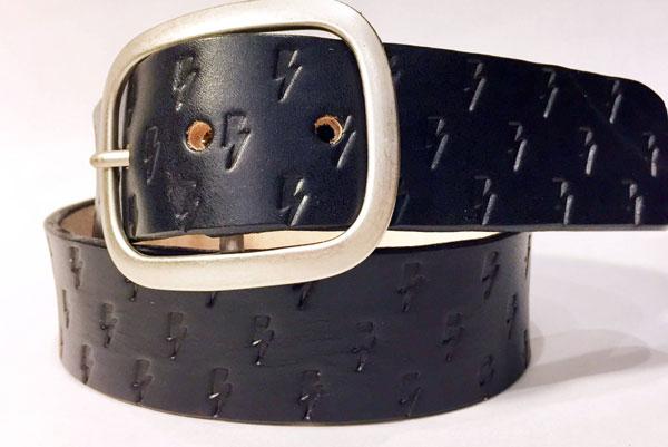 Lightning Bolt Black Leather Belt