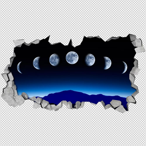 Moonphase 3D Wall Decal