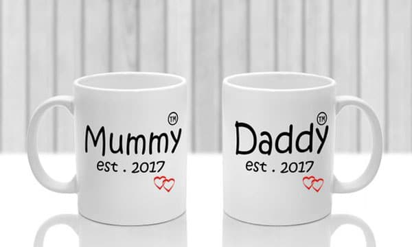 Personalised New Mum & New Dad Gift Mug Set