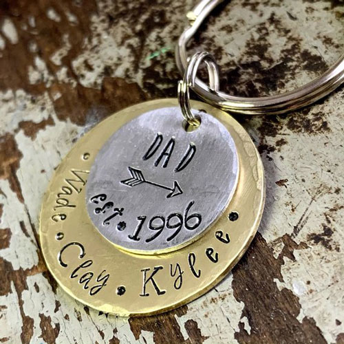 Personalized Brass Handstamped Keychain for Father