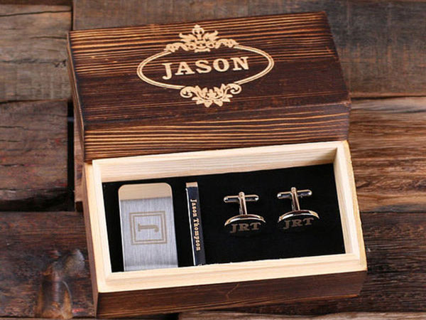 Personalized Cufflinks, Money Clip & Tie Clip Gift Set