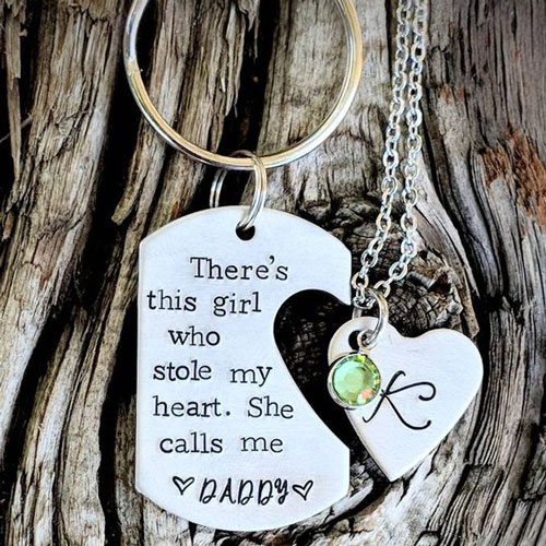Personalized hand stamped dad keychain with heart cut pendant