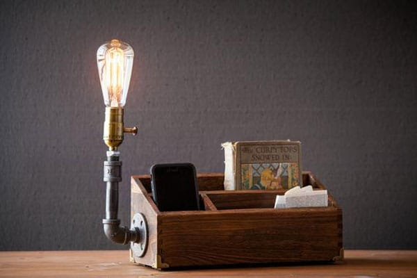 Rustic Desk Organizer Lamps