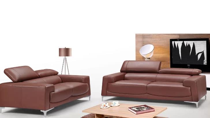 Tipton Modern Saddle 2 Piece Leather Living Room Set