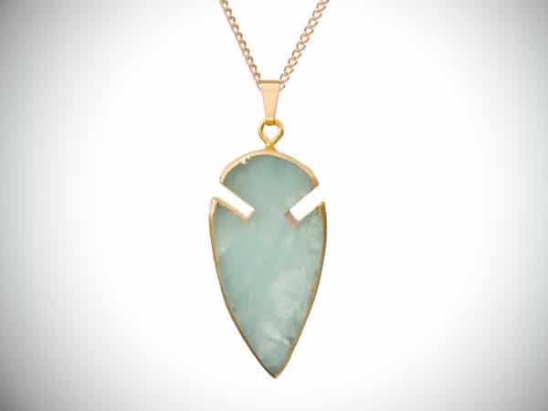 Arrow Head Mint Green Jade Pendant Necklace