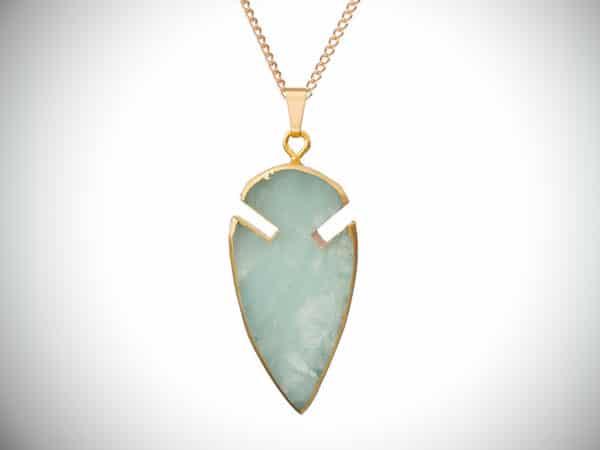 Arrow Head Mint Green Jade Pendant Necklace