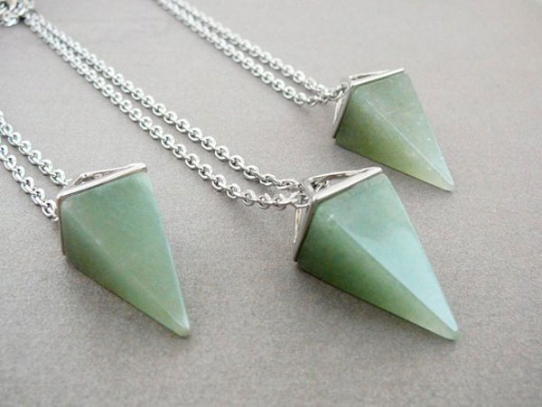 Aventurine Pyramid Necklaces - good luck charms