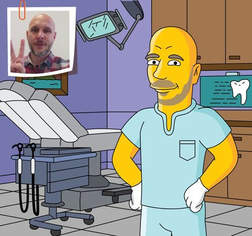 Dentist Gift - Custom Portrait as Yellow Cartoon Character