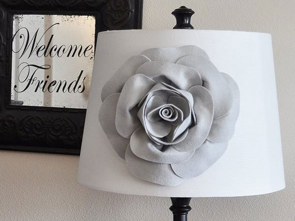Gray Rose Flower Accessory Lampshade