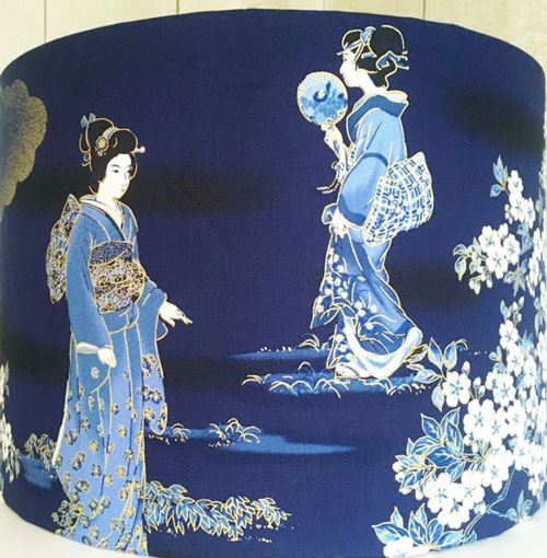 Oriental Japanese Geisha and Blossom Lamp Shade