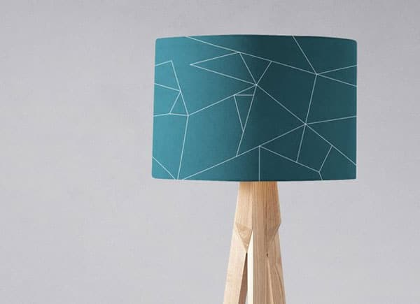 Teal Geometric Lampshade