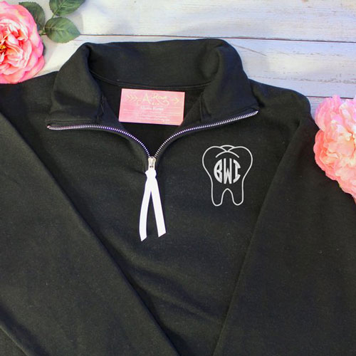 Tooth Monogram Quarter Zip Sweatshirt