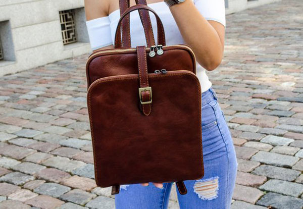 Women's Personalized Leather Backpack