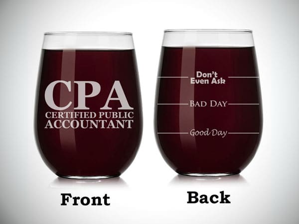 Accountant Wine Glass with Stemmed Funny Fill Lines