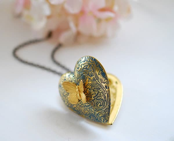 Butterfly Heart Locket Necklace