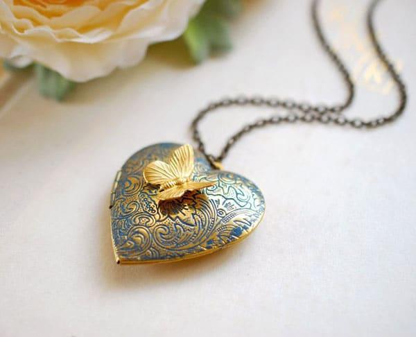 Butterfly Heart Locket Necklace