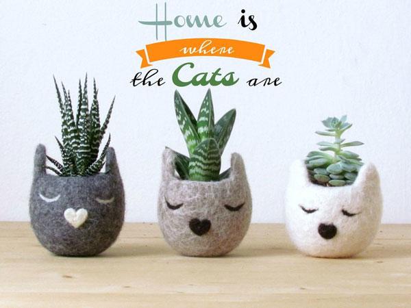 Cat Planters Set