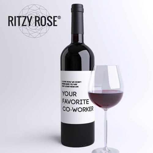 Funny Coworker Gift Wine Bottle Label