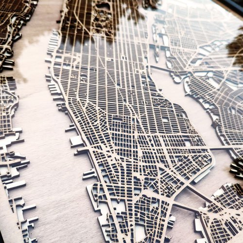 Laser Cut City Maps for your wall