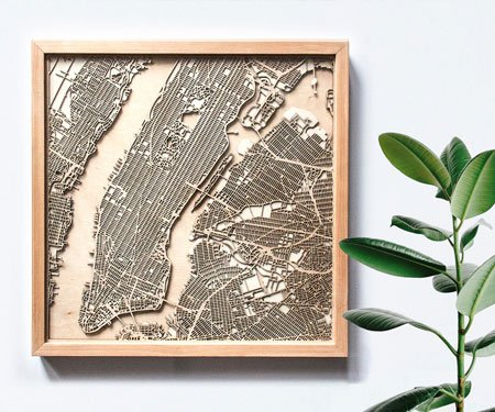 Laser Cut City Maps