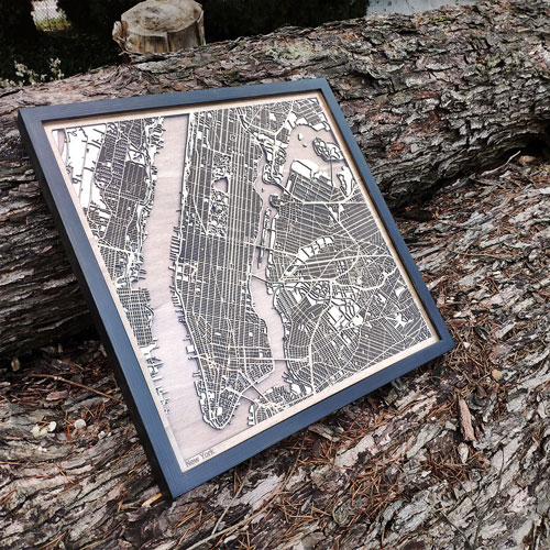 Laser Cut City Maps for your home