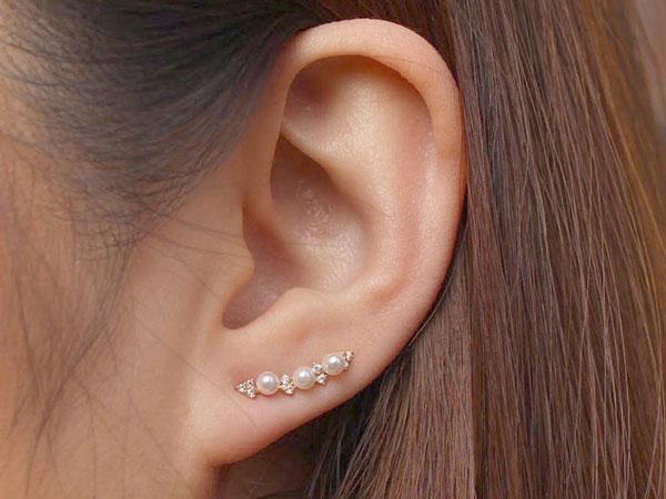 Minimalist Pearl Stud Ear Crawlers Earrings
