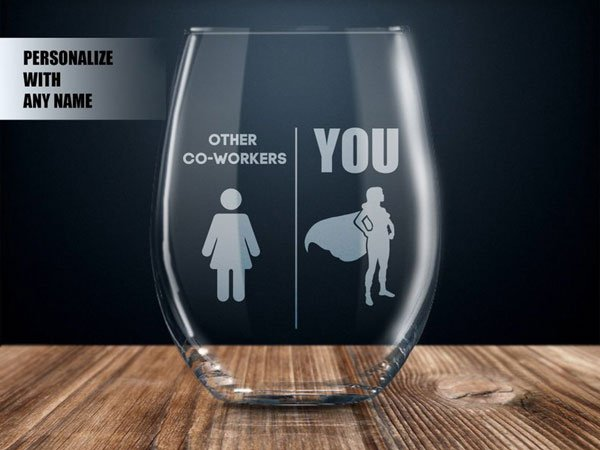 Personalized Co-Worker Wine Glass - Inexpensive Gifts for Co-Workers