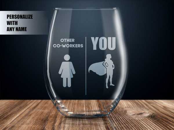 Personalized Co-Worker Wine Glass