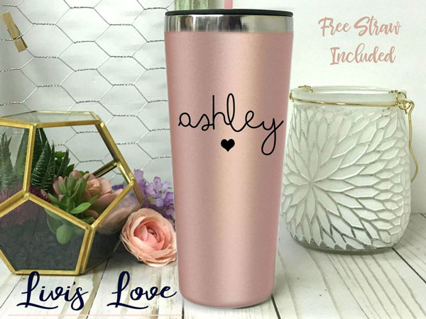 Rose Gold Personalized Coffee Thermos - Inexpensive Gifts for Co-Workers