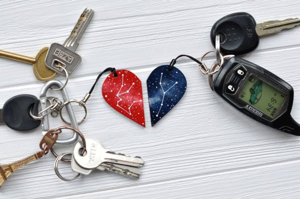 Set Of Half Heart Couples Keychains