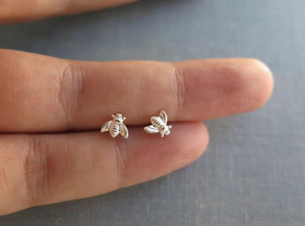 Tiny Sterling Bee Stud Earrings