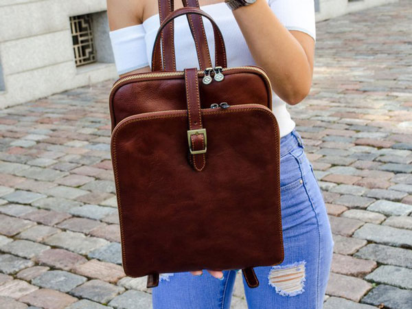 Womens Personalized Leather Backpack