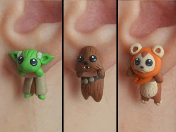 Yoda, Chewbacca, Ewok and Jawa earrings