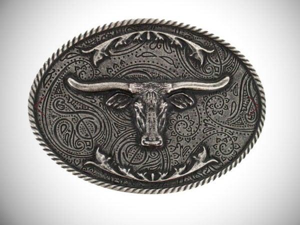 Cody James Longhorn Antiqued Silver-Tone Oval Belt Buckle