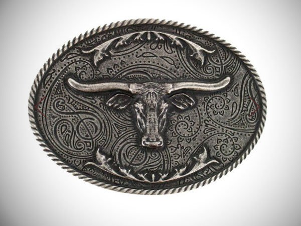 Cody James Longhorn Antiqued Silver-Tone Oval Belt Buckle