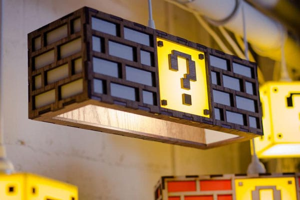 Colorful Mario Question Mark Block Lamp