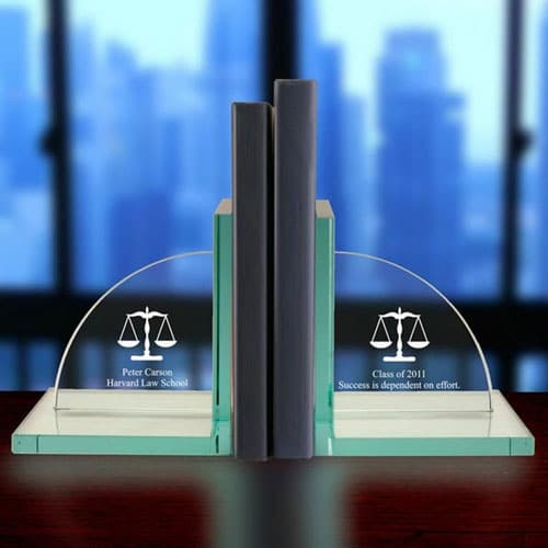 Engraved Scales of Justice Jade Glass Bookends