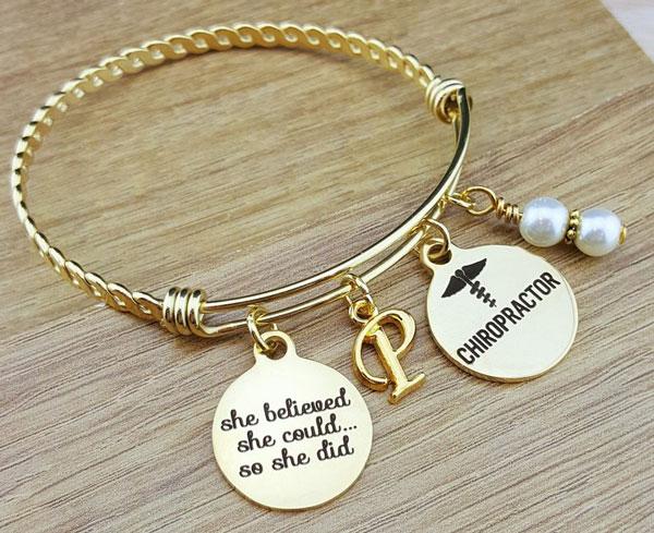 Gold Bangle Chiropractor Graduation Gift