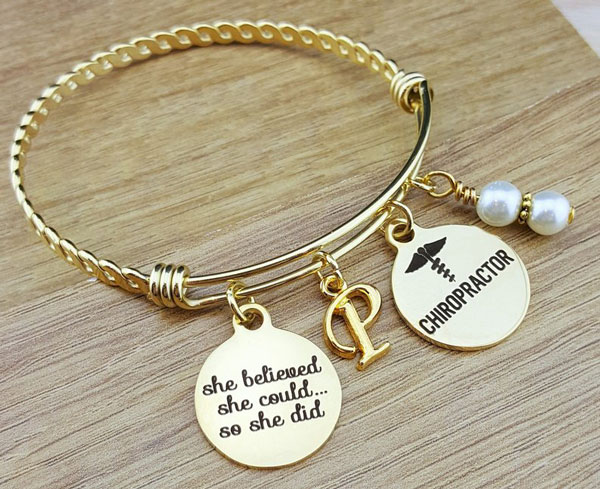 Gold Bangle Chiropractor Graduation Gift