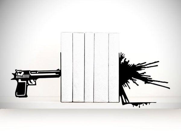 Gun & Blood Splatter Bookends