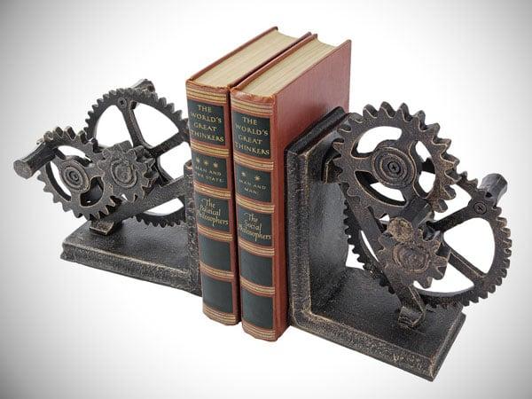 Industrial Gear Sculptural Iron Book End
