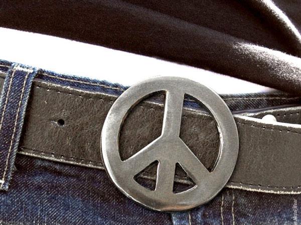 Peace Sign Metal Belt Buckle