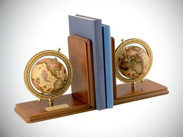 Personalized Antiqued Globe Bookends