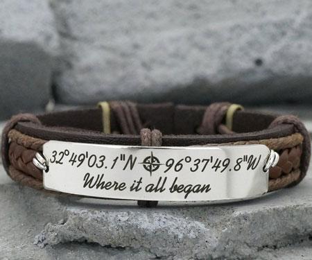 Personalized Quote Coordinate Bracelets