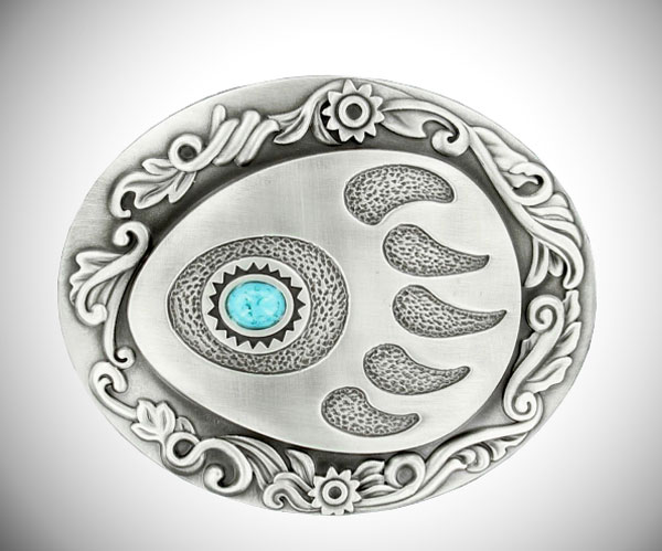 Nocona Bear Paw w/ Faux Turquoise Stone Buckle