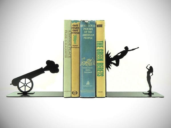 Shot Out of a Cannon Bookends - cool bookends