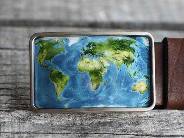 World Map Belt Buckle