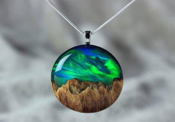 Aurora Borealis Northern Lights Wood Resin Necklace